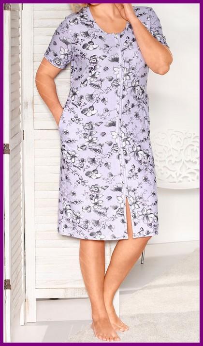 frottee hauskleid flieder weiss kleid mit reissverschluss 60 62 oder 64 66 neu ebay. Black Bedroom Furniture Sets. Home Design Ideas